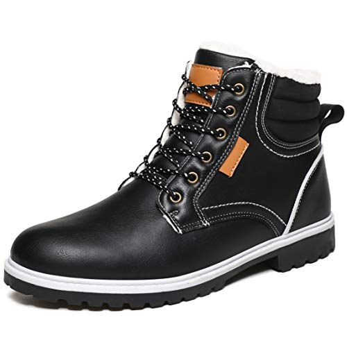 MAIZUN Men's Anti-Slip Snow Boots Leather Casual Loafers Lace Up Ankle Boots Waterproof Warm Winter Boots Outdoor Driving Hiking Shoes