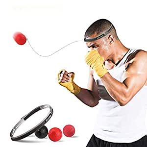 SUMDY Boxing Reflex Ball, Boxing Fight Ball Reflex for Improving Speed Reactions and Hand Eye Coordination,2 Difficulty Level Boxing Ball with Headband