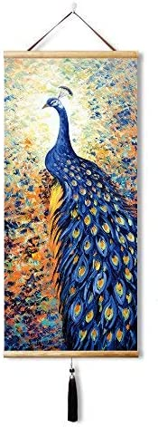 EAPEY Scroll Painting Painting Peacock Home Decorate Calligraphy Scroll Hanging Art Gift 45X100CM