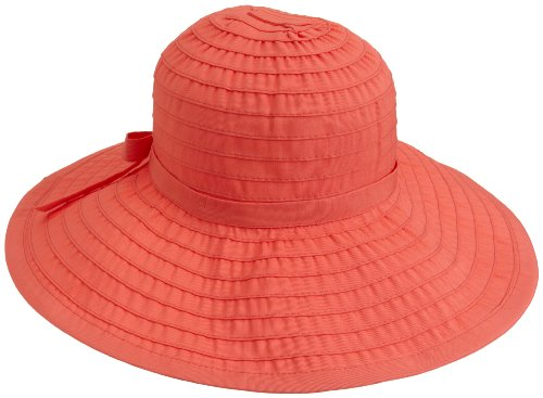 (San Diego Hat Company Women's Ribbon Large Brim Hat,Coral,One Size)