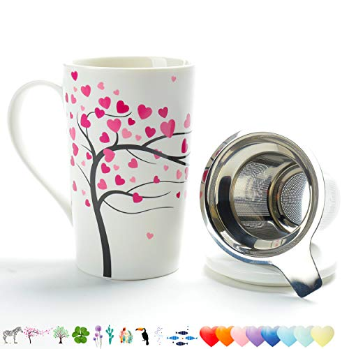 TEANAGOO M58-2 Porcelain Tea-Cup with Strainer and Cover Mom Dad Women, 18 OZ, Love Tree, Home Teapot Set with Steel Steeper, Tea-Mug Brewer Marker, Steeping Filter for Loose Leave Tea Gift ()