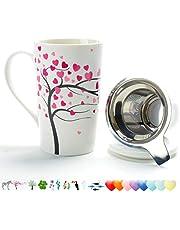 Taza de té de porcelana (510 ML) con colador y tapa, juego de tetera casera con empinador de acero - Árbol de amor, marcador de cerveza para taza de té, filtro empinado para dejar el año nuevo