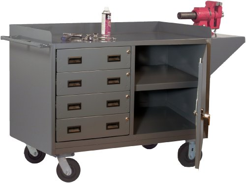 Durham 14 Gauge Welded Steel Mobile Bench Cabinet with 4 Drawers, 3401-95,1 Shelf (Stock Trucks Picking)