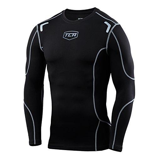 TCA Elite+ - Herren/Jungen - Base Layer Kompressionsshirt - Thermo-Unterwäsche - Black Stealth/Space Grey - 8-10 years
