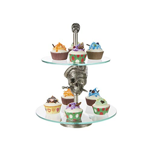 Mind Reader 2TPIRCAKE-SIL 2 Pirate, Party Pastry, Cupcake Holder, Tree Tower Stand, Tiered Serving Dessert Display Tray, Silver, One Size