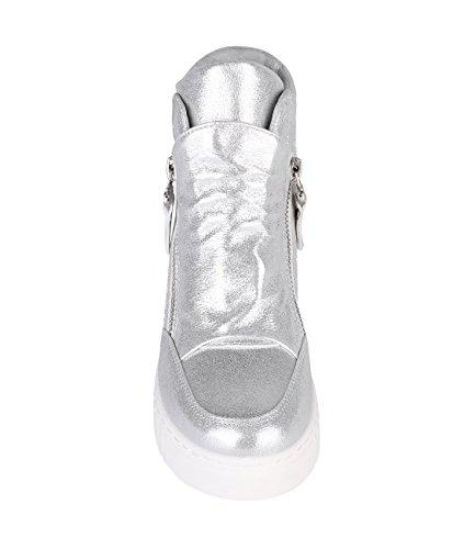 Krisp Femmes Fermeture À Glissière Métallique Forme Plate Lacets Chaussures Creepers Argent (5594)