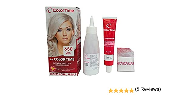 Color time, tinte en crema para el cabello de color rubio plata 650: Amazon.es: Belleza