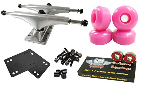 Owlsome 5.0 Polished Aluminum Skateboard Trucks w/ 52mm Wheels Combo Set (Pink) (Skateboard Pink Trucks)