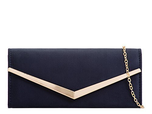 Occasion Prom I1 Clutch Evening Faux Party Hand Flap Womens Ladies Foldover Suede Bags Navy Dressy wFnqPSXz
