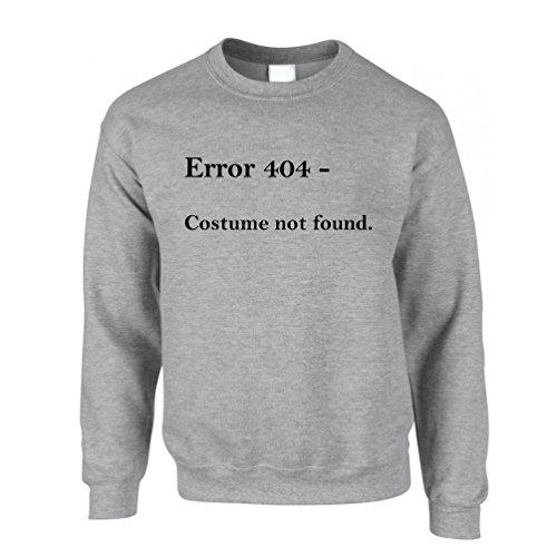 Nerdy Halloween Sweatshirt Error 404, Costume Not Found Grey XXL ()
