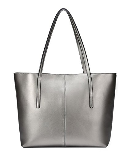 Covelin Women's Handbag Genuine Leather Tote Shoulder Bags Soft Hot Silver grey (Large Textured Leather Tote)