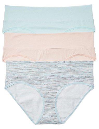Fold Down Brief - Motherhood Maternity Women's Plus-Size 3 Pack Fold Over Brief Panties, Aqua, Space dye, Pink/Multi, 3X
