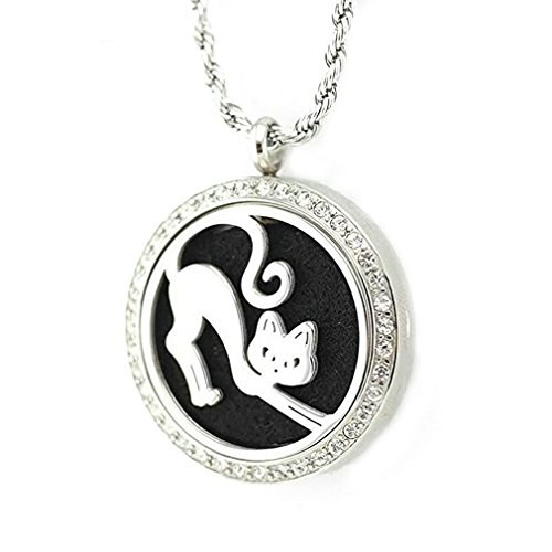 Flops Necklace Pendant - JAOYU Diffuser Necklace For Women Kids Aromatherapy Pendant Cat Lover Gifts Stainless Steel Charm Locket Jewelry for Teen Girls Ideas