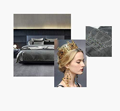 Nologo WLYX Lit Runner écharpe Lit Drapeau Lit de Style européen de précision en Peluche Tails Crown Hot Drilling Hôtel Couvre-lit Violet Clair 17.7X94.4 '' (78,7 '' Bed)