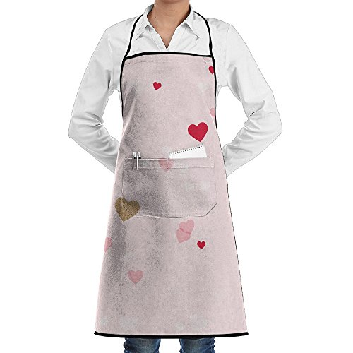 - Valentine Love Heart Pattern Apron Lace Unisex Mens Womens Chef Adjustable Polyester Long Full Black Cooking Kitchen Aprons Bib With Pockets For Restaurant Baking Crafting Gardening BBQ Grill