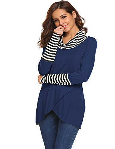 Juniors Tops, Cowl Neck Asymmetrical Hemline Flowy Tunic Top Dark Blue,S (Neck Cowl Asymmetrical)