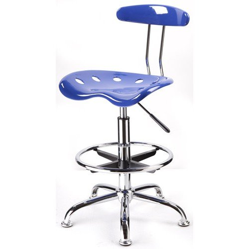 Adjustable Height Drafting Stool with Tractor Seat, Nautical Blue + Expert Guide