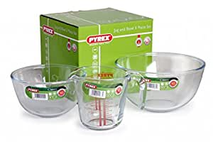 Pyrex 3pc Jug & Bowl Set (1 & 2 Litre Bowls + 0.5 Litre Measuring Jug) by Pyrex