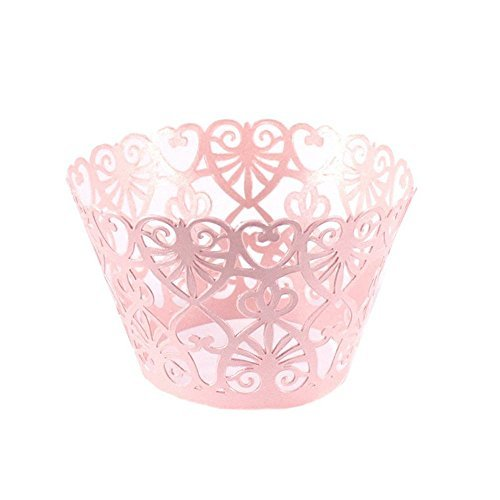 Zerowin 24pcs Love Heart Lace Laser Cut Cupcake Wrapper Liner Baking Cup Muffin Case Trays Wedding Birthday Party Decoration,Bling (Muffin Wedding Cake)