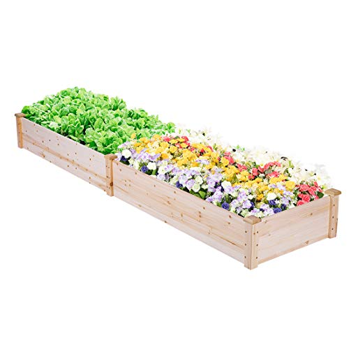 (VIVOHOME Wooden Rectangle Elevated Raised Garden Bed Planter Box for Flower Vegetable Grow 96 Inch x 24 Inch x 10 Inch)