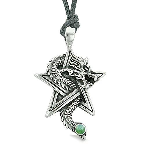 Courage Dragon Magical Protection Powers Star Pentacle Amulet Green Quartz Pendant Adjustable Necklace