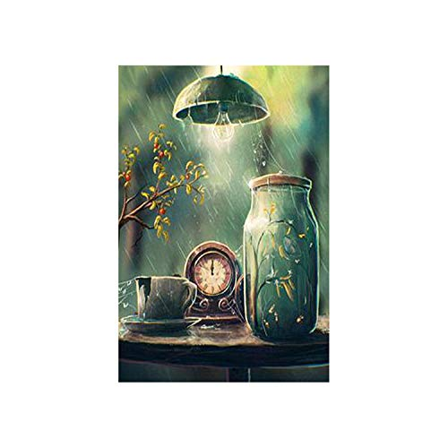 5D DIY Diamond Painting Light Scenery Full Square/Round Diamond Painting Cross Stitch Crystal Wall Painting Gift,Green,45X60Cm