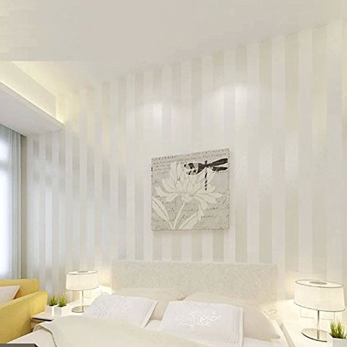 Modern Stripe Wallpaper (QIHANG European Modern Minimalist Country Luxury Stripe Wallpaper Roll for Living Room Bedroom Tv Backdrop Wall Cream&white Color)