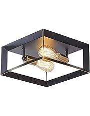 LeminFan 2-Light Ceiling Light Fixture, Black Bronze Flush Mount Light, Industrial Farmhouse Light Metal Ceiling Lights for Living Room Hallway Kitchen Entryway