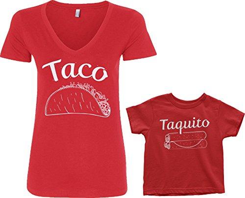 19.25 Inch Cream - Threadrock Taco & Taquito Toddler & Women's V-Neck T-Shirt Set (Toddler: 4T, Red|Women's: M, Red)