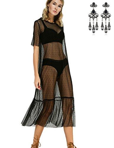MODETREND Mujer Bikini de la Playa Vestido Largo de Encaje Blusas Camisas de Playa Trajes De Baño Beachwear Negro