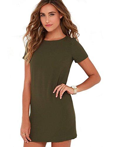 Baring Back Dress (Blooming Jelly Women's Short Sleeve Zip Back Mini Shirts Shift Dress (XL, Green))