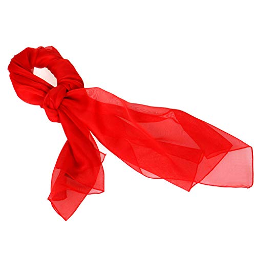 Women Solid Chiffon Silky Oblong Neckerchief Scarf, Red ()