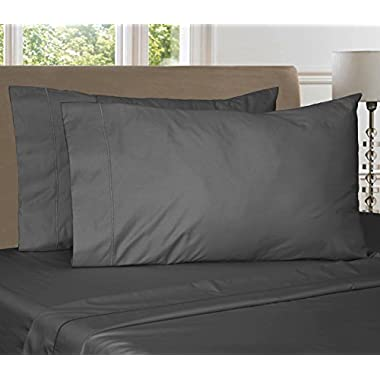 Luxury 900 Thread Count Egyptian Blend 4 Piece Sheet Set (Queen, Charcoal)