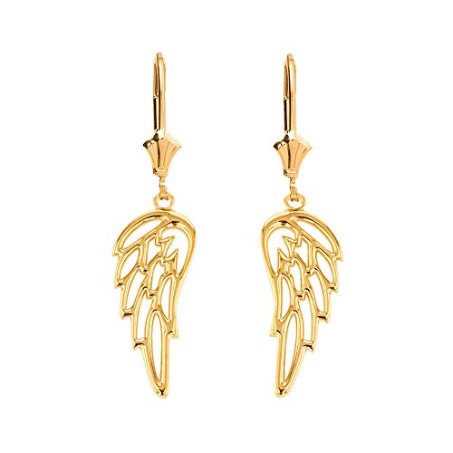 Angel Earrings Gold (Fine 10k Yellow Gold Guardian Angel Filigree Wing Dangle Earrings)