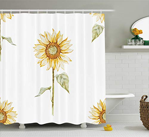 Ambesonne Sunflower Shower Curtain, Sunflowers with Watercolor Painting Effect and in Minimalistic Design Artwork, Cloth Fabric Bathroom Decor Set with Hooks, 70