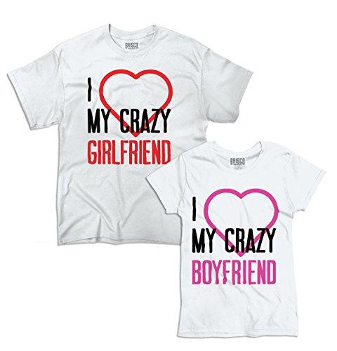 Crazy Girlfriend Boyfriend Funny Heart Cute Matching Couple T-Shirt Tee by Brisco Brands