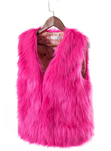Hot Pink Jacket (YUAKOU Women's Warm Faux Fox Fur Gilet Outwear Short Vest Vest Coat Jacket Waistcoat)