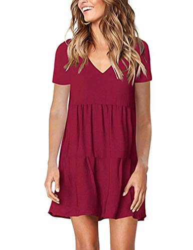 Sherosa Tunic Dress Women's Casual Pleated v Neck Loose fit Shift Dress (S, Wine Red)