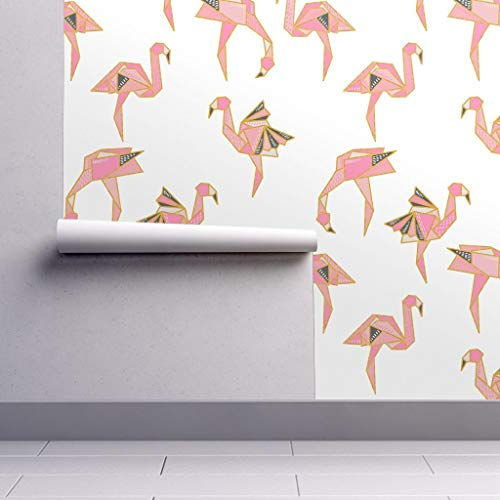Peel-and-Stick Removable Wallpaper - Origami Flamingo Tropical Bird by Helenpdesigns - 12in x 24in Woven Textured Peel-and-Stick Removable Wallpaper Test Swatch