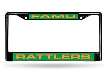 Rico Industries NCAA Laser Cut Inlaid Standard Chrome License Plate Frame FCLB101001 Black Inc