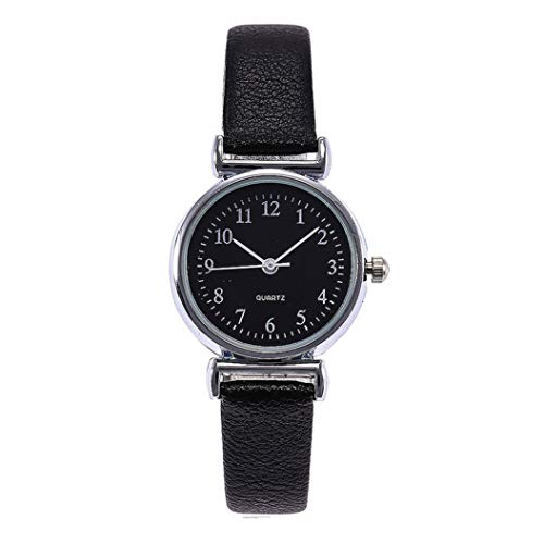 (ManxiVoo Women's Digital Dial Analog Quartz Bracelet Watch Casual Leather Band Wristwatches (B))