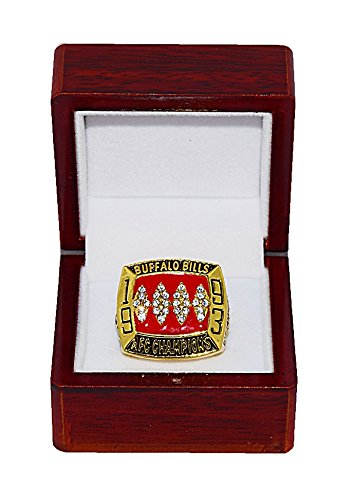 BUFFALO BILLS (Jim Kelly) 1993 AFC WORLD CHAMPIONS (Super Bowl XXVII) Vintage Rare & Collectible Replica National Football League Gold NFL Championship Ring with Cherrywood Display ()