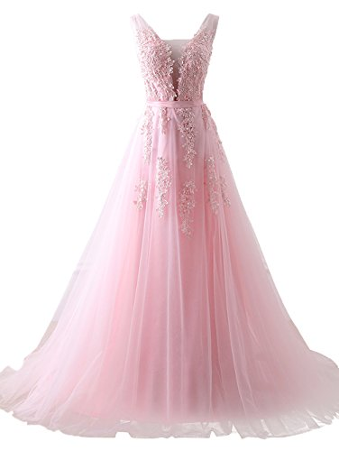 Cheap V Neck Empire Waist Floor Length Bridesmaids Dress Mother of Groom Pink,US12
