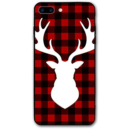 CHUFZSD Black Red Buffalo Plaid Moose iPhone 7/8 Plus Case Soft Flexible TPU Anti Scratch Shock-Proof Protective Shell Compatible Phone Case Cover (5.5 Inch)