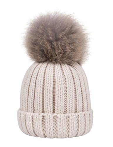 EVRFELAN Winter Women Pompom Beanie Knit Warm Thick Soft Hat Fashion Raccoon Fur Pom Skull Ribbed Cable Acrylic Girls Ski Snowboard Cap Simple Classic(mink beige)