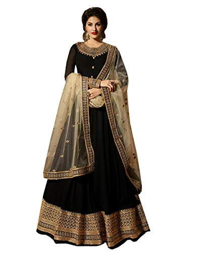 Delisa Indian/Pakistani Bollywood Party Wear Long Anarkali Gown for Womens NG (Black, -