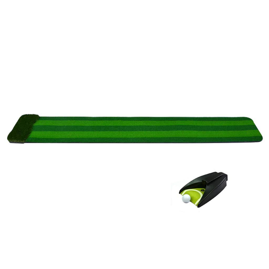 ゴルフマット、折り畳み式マルチチャンネルシミュレーションパターエクササイザ、パッド+ホールカップ/自動ボールリターン、屋内および屋外 B07H2DXBZD  A