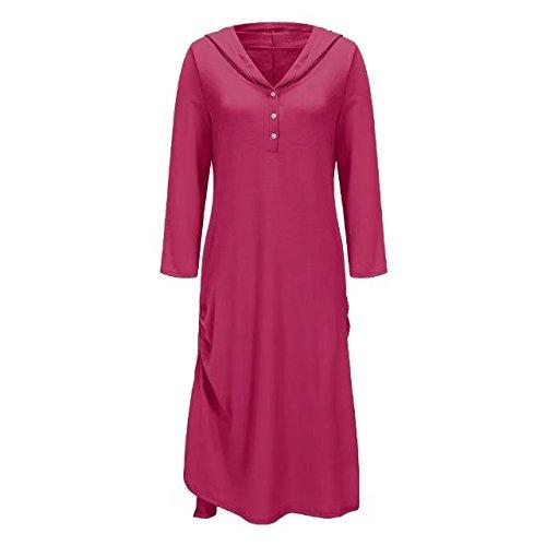 Bettergirl (tm) Occasionnel Des Femmes De Poches En Vrac Col V Capuchon D'ourlet Irrégulier Magenta Long Robe