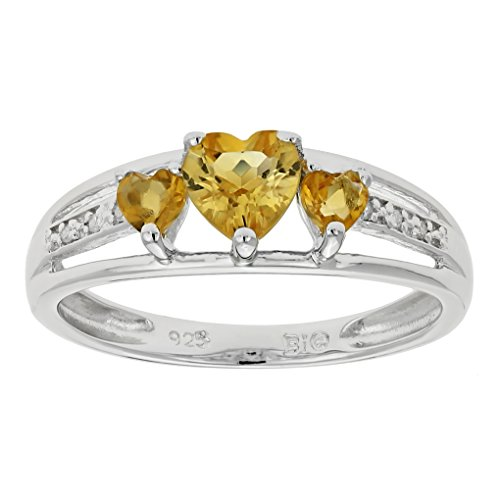 .60 Ct Triple Heart Yellow Citrine .018 cttw Diamond 10K White Gold Ring Size 9