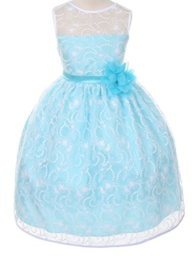 Flower Girls Dress Aqua Quality Lace Dress Pageant Wedding Girl 2-14
